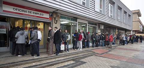 cola paro oficina servicio publico empleo madrid