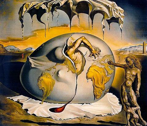 niño geopolítico observando nacimiento hombre nuevo dali