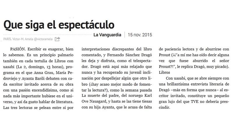 Víctor Amela recomienda 'Libros con uasabi en 'La Vanguardia'